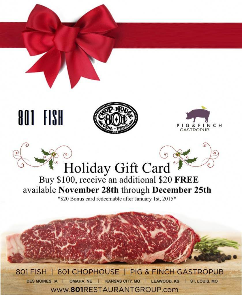 801Chophouse - Pig & FInch - 801 Fish Gift Cards