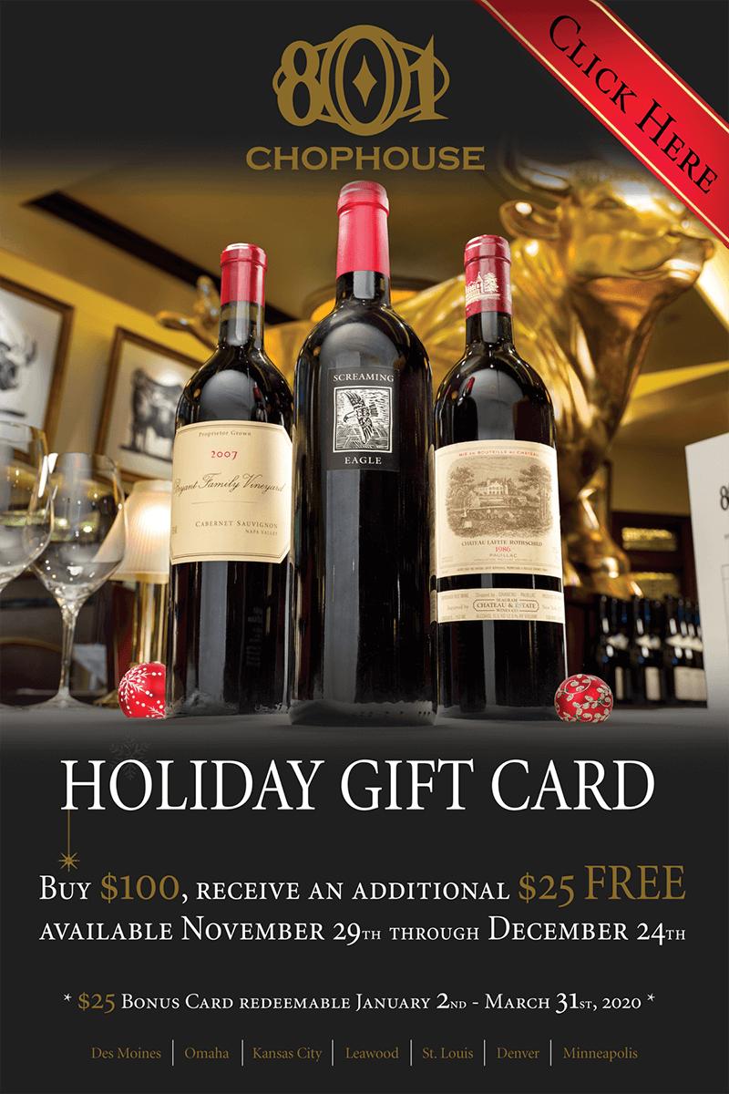 801 Restaurant Group 2019 Gift Card Promo